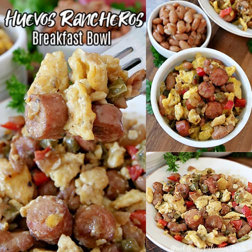 A 3 photo collage of huevos rancheros in a white bowl, loaded with pinto beans, eggs, sausage, onions, and bell peppers.