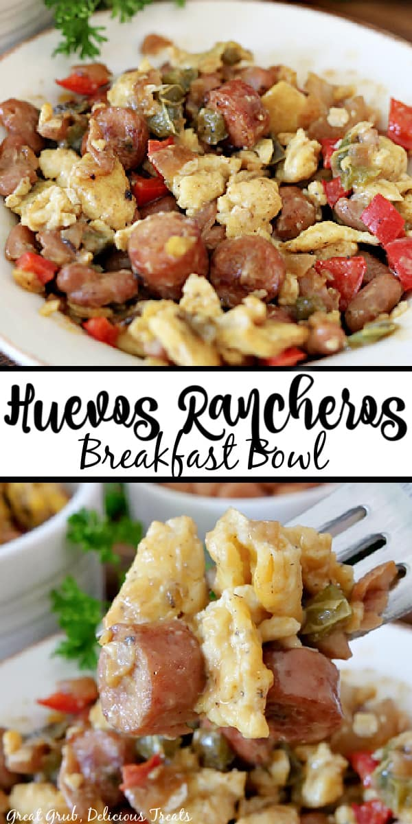 A double pin of huevos ranchers in a white bowl with onions, bell peppers, eggs, sausage, pinto beans.