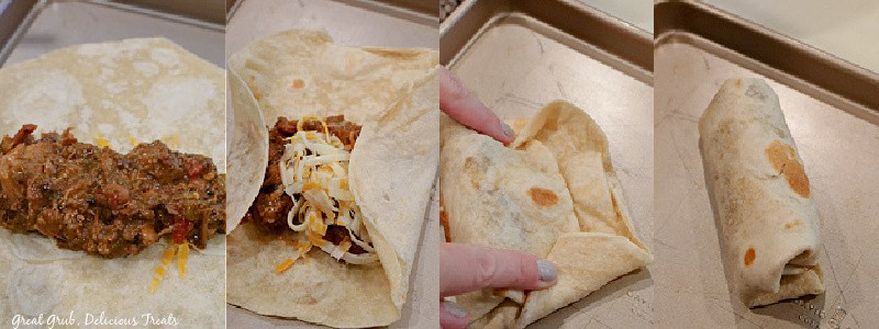 4 pictures showing how to fold a burrito.