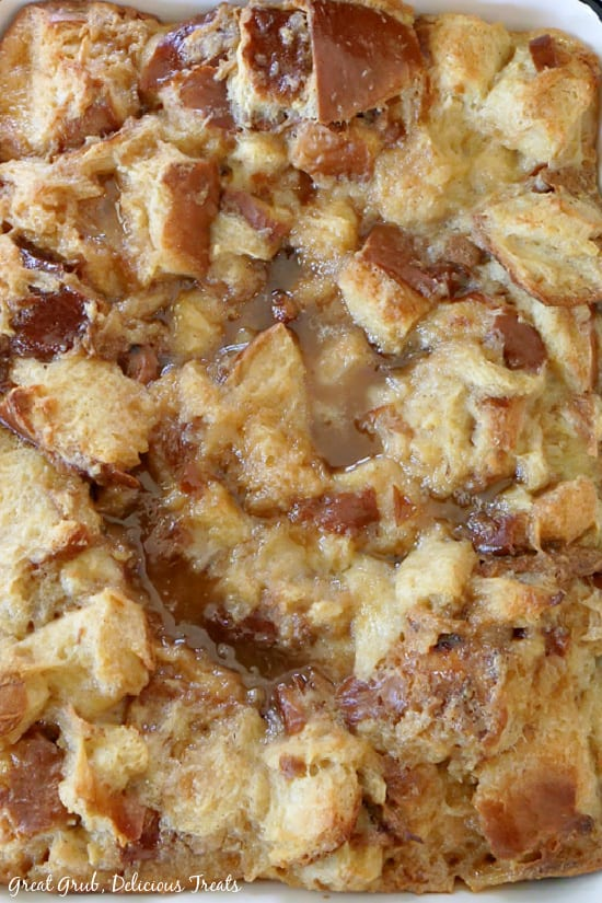 A photo of Caramel Bread Pudding after it's been taken right from the oven.