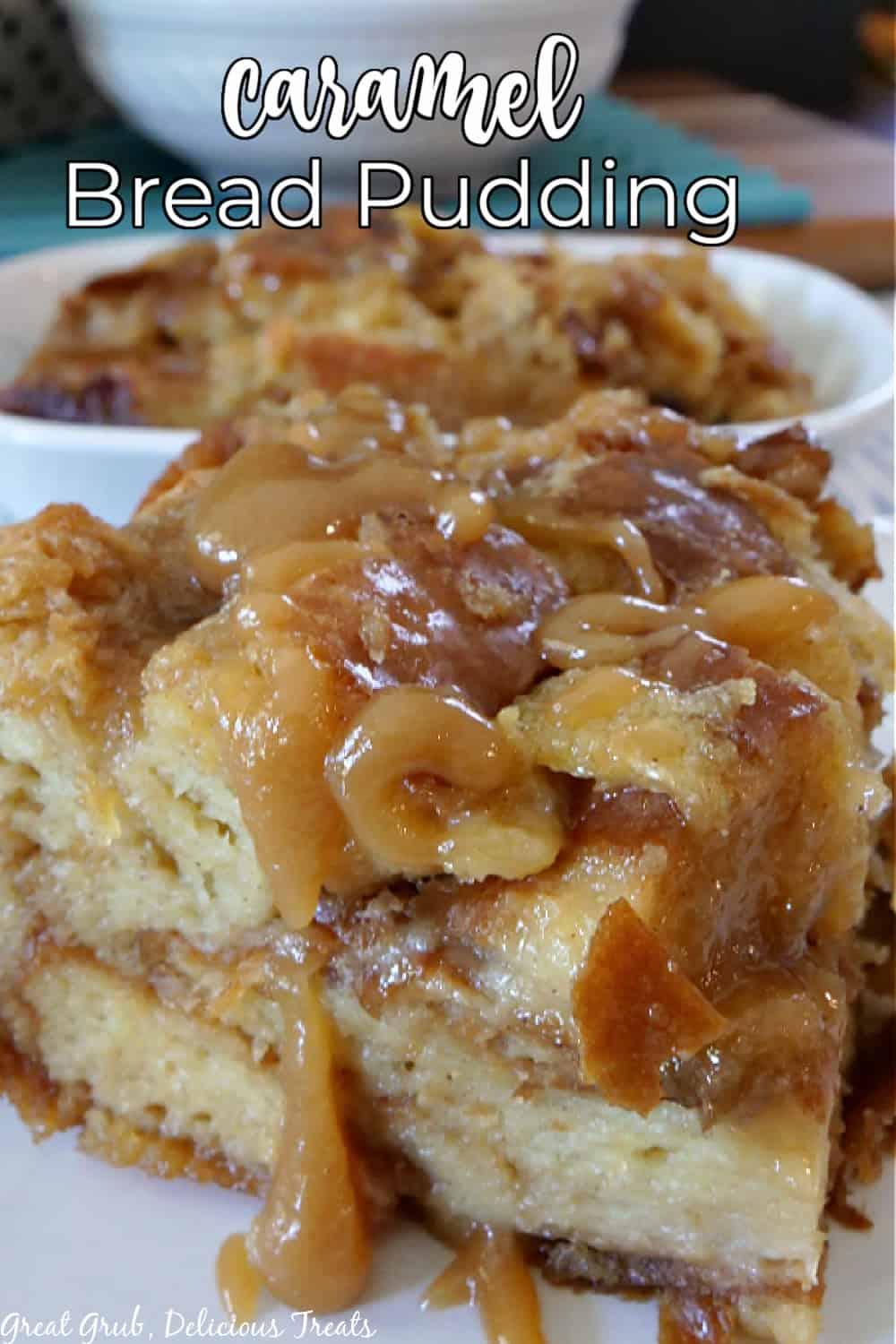 Caramel Bread Pudding is a delicious bread pudding recipe made with a homemade caramel sauce and baked until the custard is set and baked to perfection. via @terri040