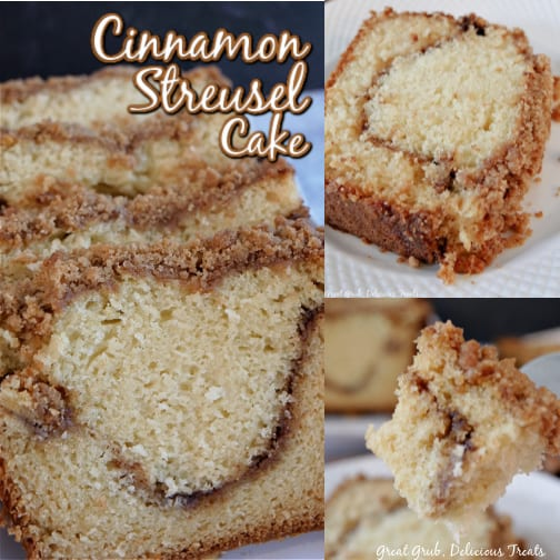 A 3 photo collage of cinnamon streusel cake on a white plate.