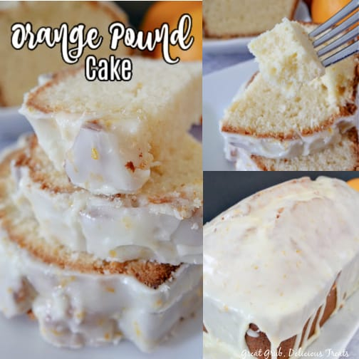 A 3 photo collage of orange pound cake on a white plate with a white glaze on top.