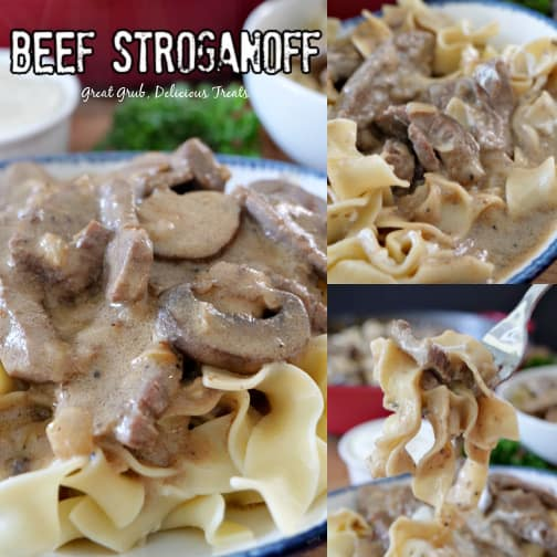 A 3 photo collage of beef stroganoff on a white plate with blue trim.