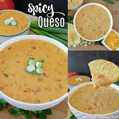 A 3 photo collage of a white bowl filled with spicy queso placed on a wood cutting board.