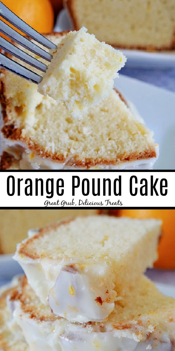 A double pin of orange pound cake on a white plate, topped with a white glaze.