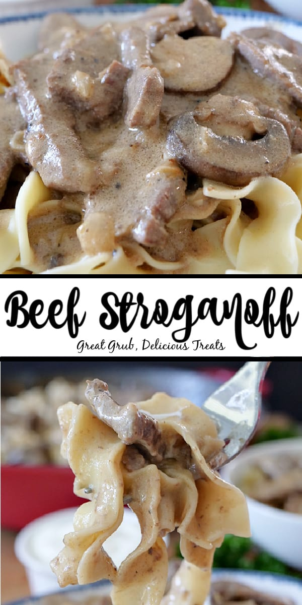 A double picture of Beef Stroganoff with the title in the middle. The top picture is a close up of Beef Stroganoff in a white bowl with blue trim. The bottom picture is a close up of Beef Stroganoff on a fork, showing the tender beef strips and soft egg noodles.