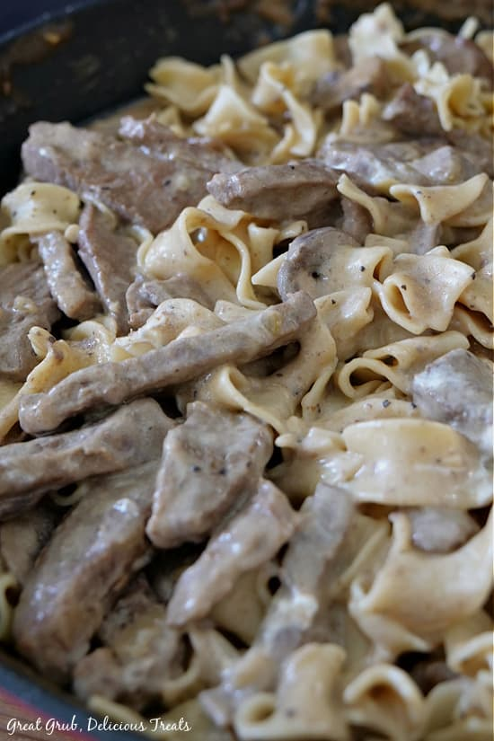 A close up picture of Beef Stroganoff, showing the thin strips of tender beef and the soft egg noodles, covered in a creamy sauce.
