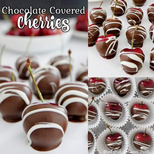 A three photo collage of chocolate covered cherries on a white plate, a pic of cherries in mini white cupcake liners, and another pic of them lined up on a white plate.