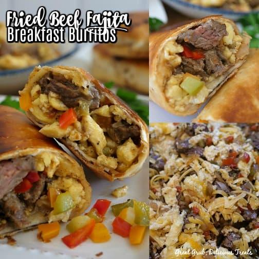 A 3 photo collage of beef fajita breakfast burritos.