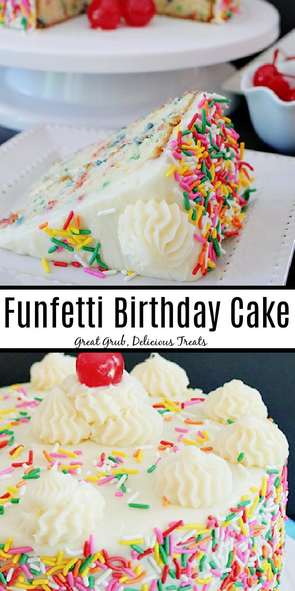 A double collage photo of a funfetti cake with a slice on a white plate in the top photo and the whole cake in the bottom photo with the title in the middle of the photo.