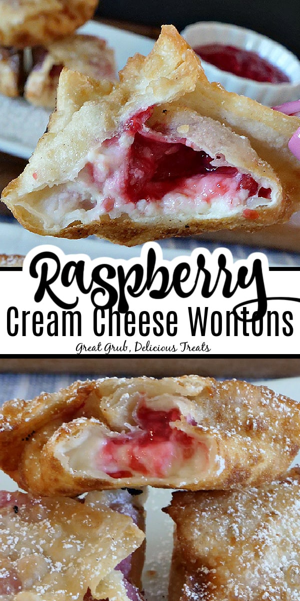 A double picture of Raspberry Cream Cheese Wontons with the title in the middle.