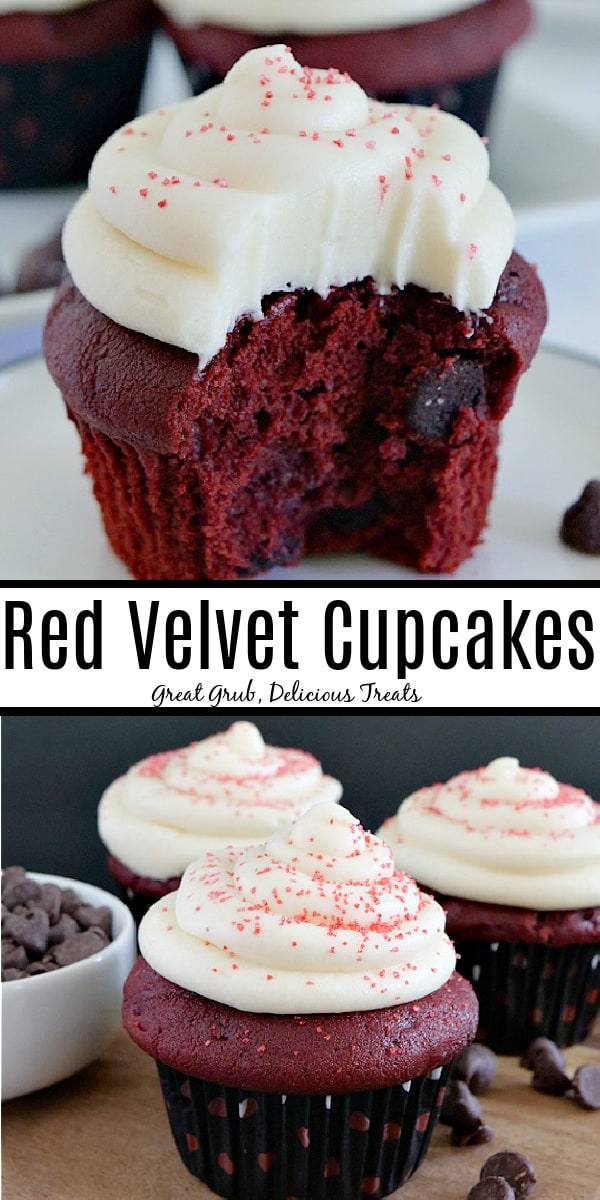 A double collage photo of a red velvet cupcake with a bite taken out of it and then a photo of 3 cupcakes with a white bowl filled with chocolate chips.