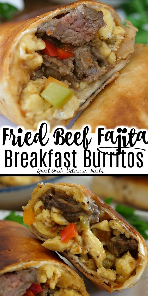A double collage photo of beef fajita breakfast burrito cut in half showing the ingredients of eggs, cheese, beef, peppers, onions all in a flour tortilla that has been fried.