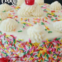 A funfetti cake showing the frosting and candied sprinkles surrounding the cake.