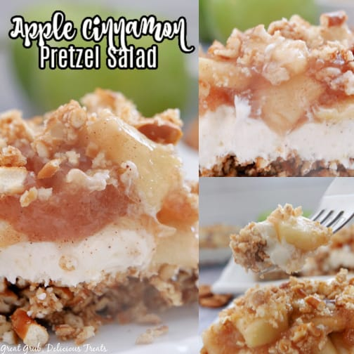 A 3 photo collage of pictures of Apple Cinnamon Pretzel Salad and the title on the upper left hand side of the photo.