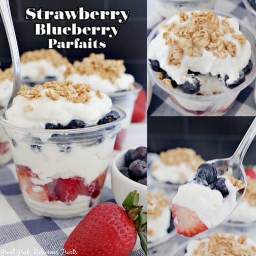 A 3 photo collage of strawberry blueberry parfaits with fresh strawberries, blueberries, and layers of whipped cream and topped with granola.