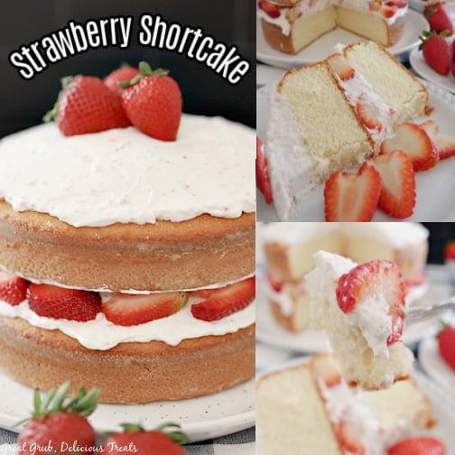 3 collage photo of a strawberry shortcake cake.
