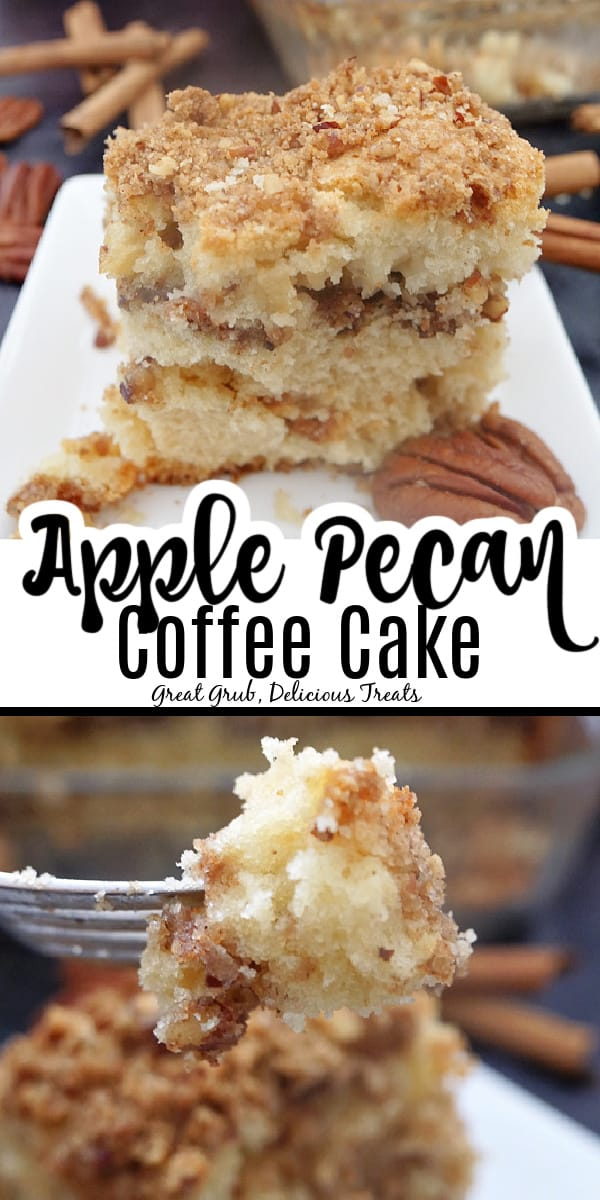 A double picture of Apple Pecan Coffee Cake with the title in the middle.