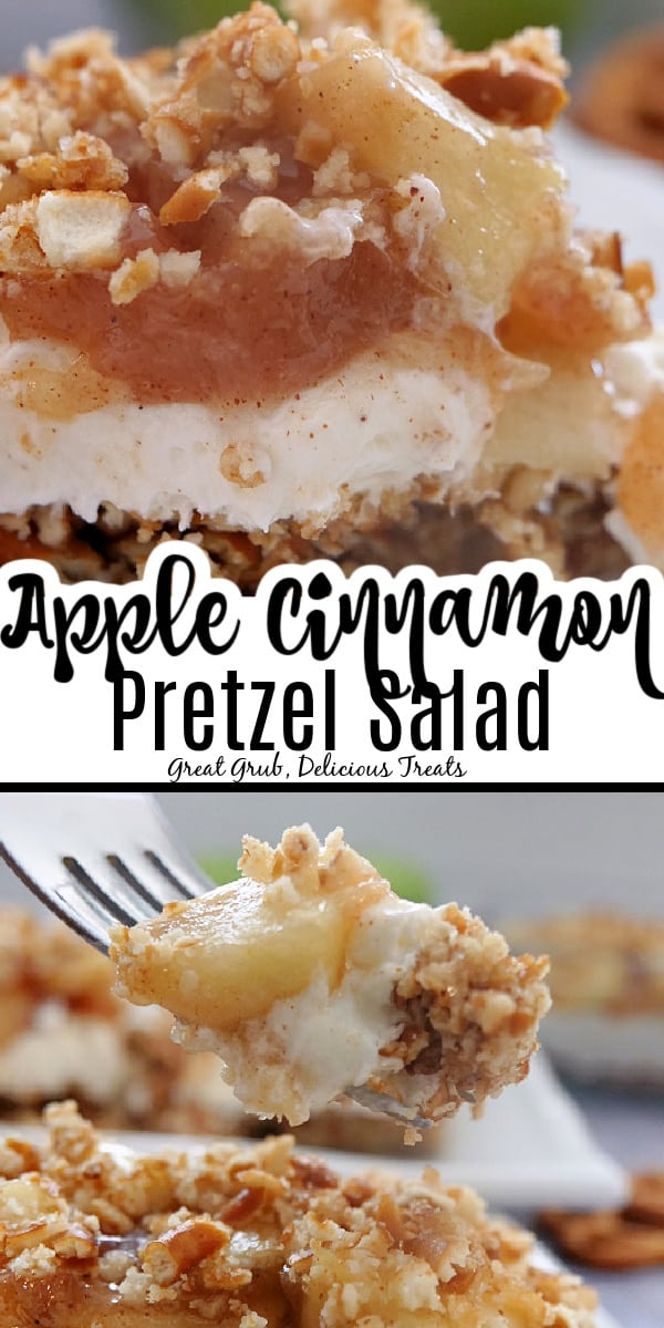 A double collage photo with a  piece of Apple Cinnamon Pretzel Salad in the top photo and a forkful of the dessert in the bottom photo.