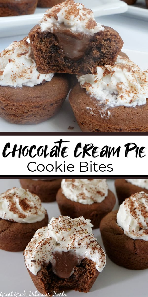 A double collage photo of Chocolate Cream Pie Cookie Bites with a bite taken out of one of the cookie bites, and the title of the recipe in the center of the photo.