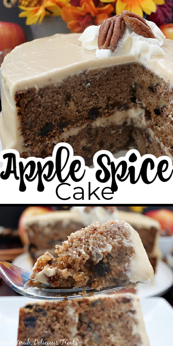 A double collage photo of an apple spice cake with brown sugar frosting with the title of the recipe in the center of the photo.