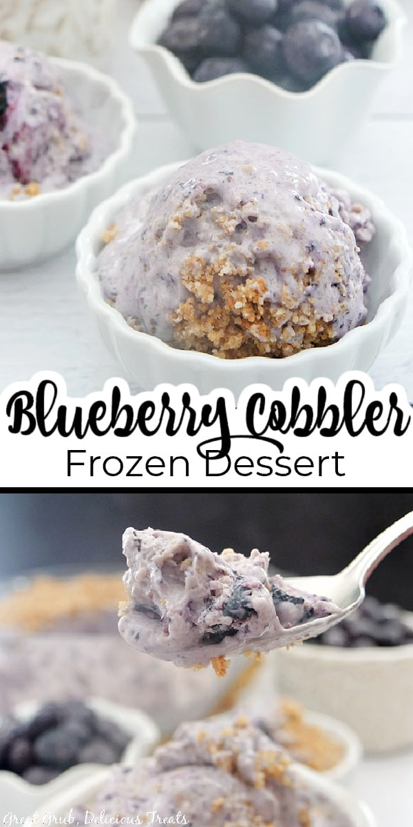 Two pictures of blueberry cobbler frozen dessert in a small white bowl and with a bite on a spoon.