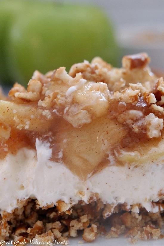 A super close up photo of the layers of Apple Cinnamon Pretzel Salad dessert.