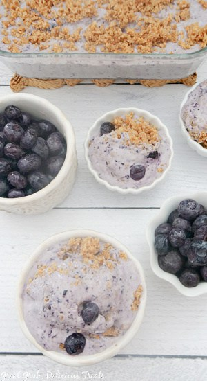 An overhead shot of blueberry cobbler frozen dessert with small white bowls of blueberries and frozen blueberry cobbler.