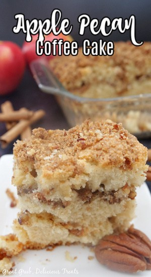 A slice of Apple Pecan Coffee Cake on a small white plate with pecans in the foreground and whole apples and cinnamon sticks in the background.