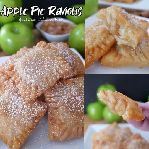 A 3 photo collage of apple pie raviolis on a white plate with the title of the recipe in the top right corner.