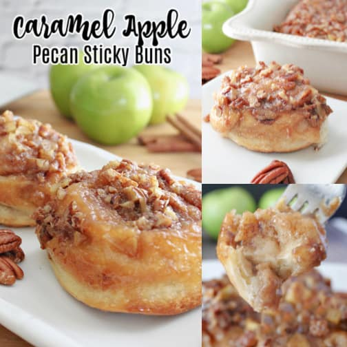 A three photo collage of caramel apple sticky buns placed on a white plate with the title of the recipe at the top left corner.