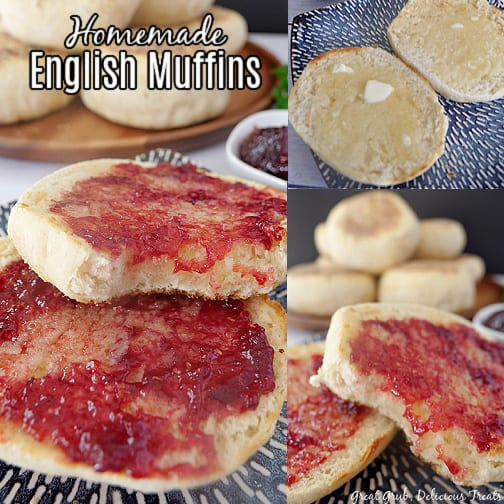 A three photo collage of English muffins on a blue plate, cut in half and one with melted butter and the other 2 pictures with jelly on them.