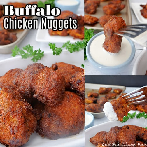 A 3 photo collage of Buffalo Chicken Nuggets on a white plate with the title of the recipe in the top left corner.