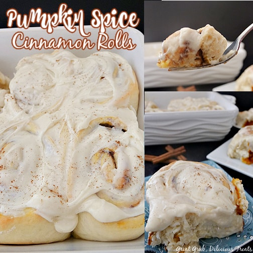 A three photo collage of pumpkin spice cinnamon rolls in a white baking dish and one of a blue plate.