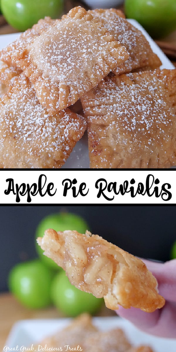 A double collage photo of apple pie raviolis on a white plate and one being held up close to the camera lens to show the filling.