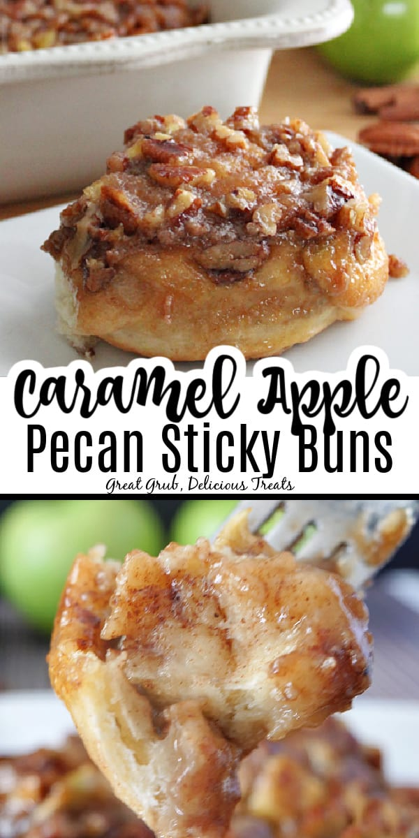 A double collage photo of apple pecan sticky buns on a white plate with the title of the recipe in the center between the two photos.