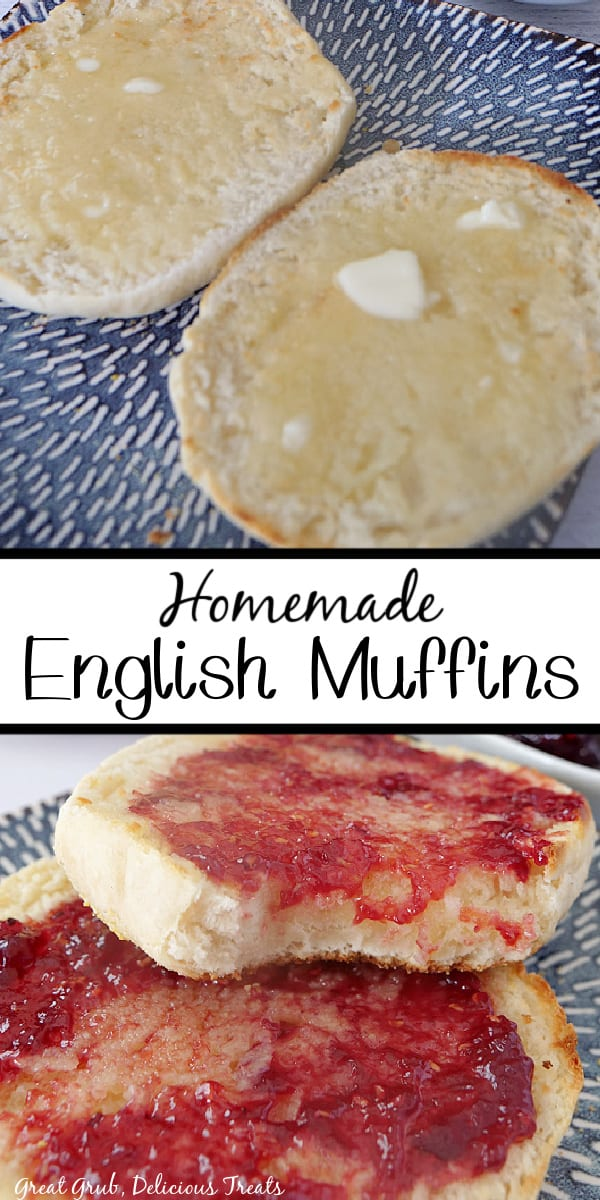 A two photo collage of English muffins cut in half, one picture with melted butter on them and another picture with jelly on them.