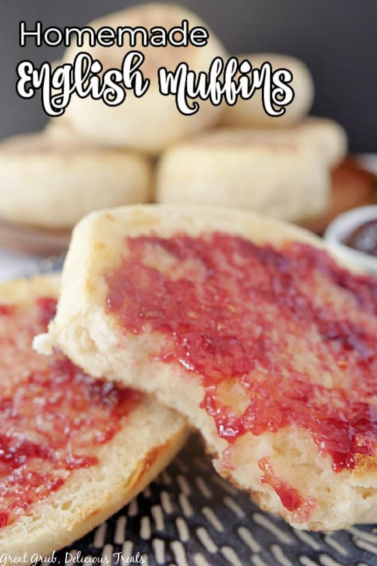A close up picture of an English muffin cut in half with jelly on top of each piece.
