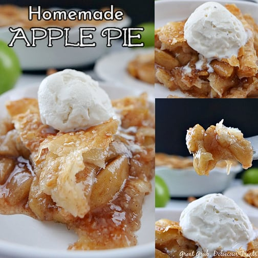 A 3 collage photo of a slice of apple pie on a shallow white plate.