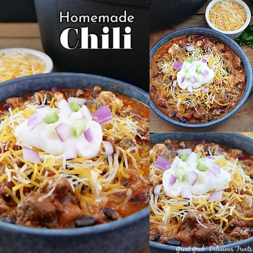 A three pic collage of chili in bowls with the title at the top.