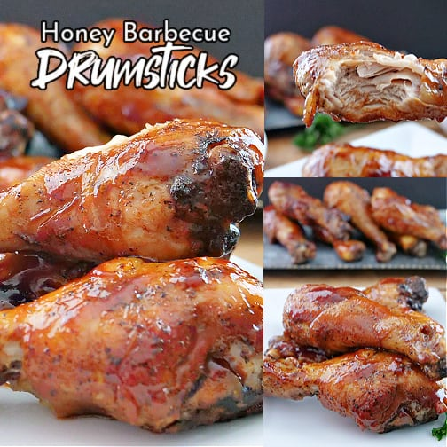 A 3 collage photo of honey barbecue chicken drumsticks.