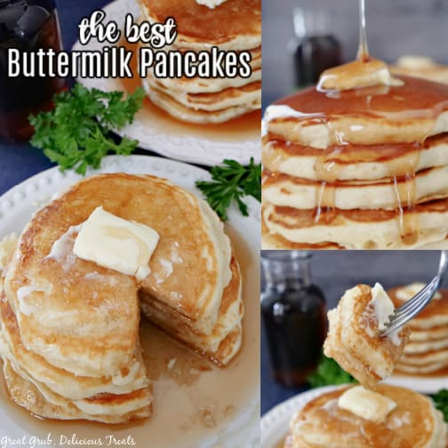 A three collage photo of a stack of buttermilk pancakes.
