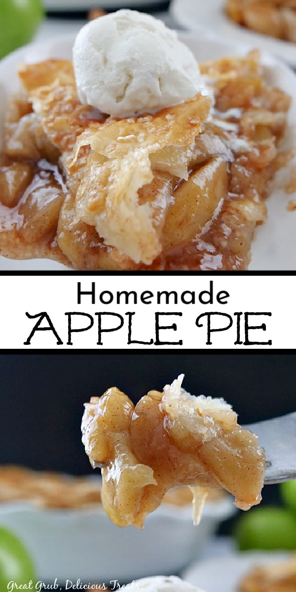 A double collage photo of a serving of apple pie and a close up photo of a bite on a fork.