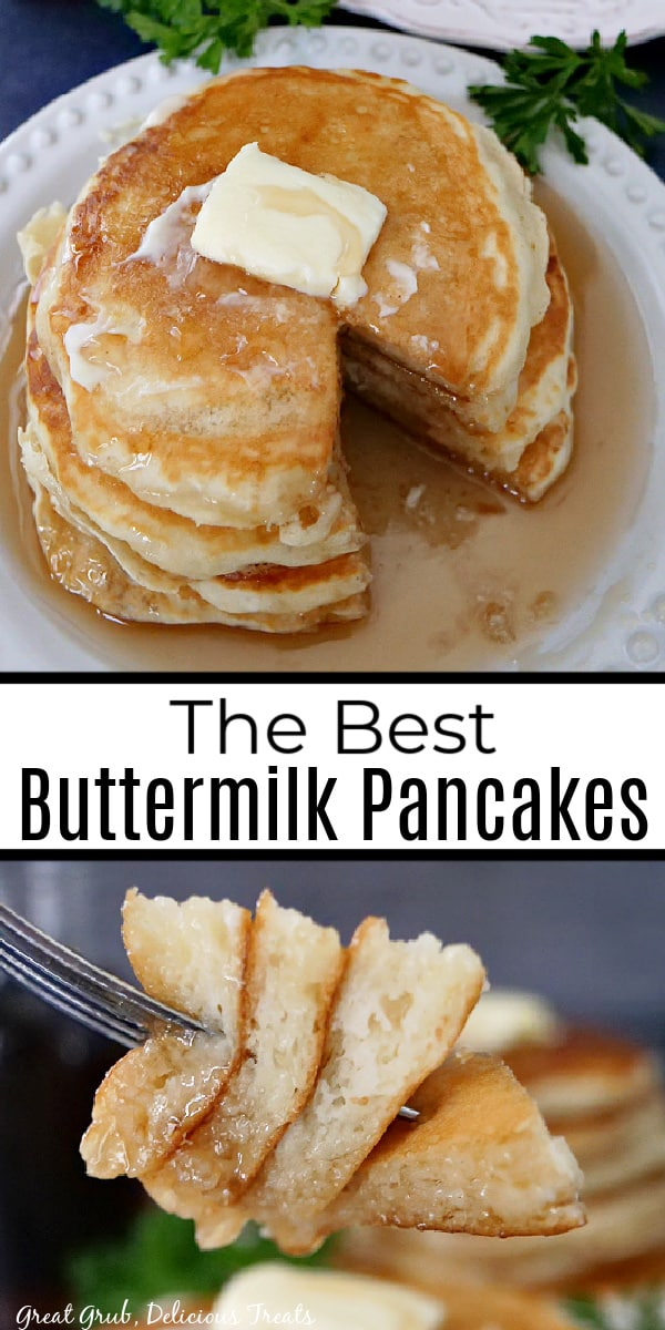 A double collage photo of a white plate with a stack of 4 pancakes on it and the bottom photo is a fork with a bite of pancakes on it and the title of the recipe in the center of the photo.