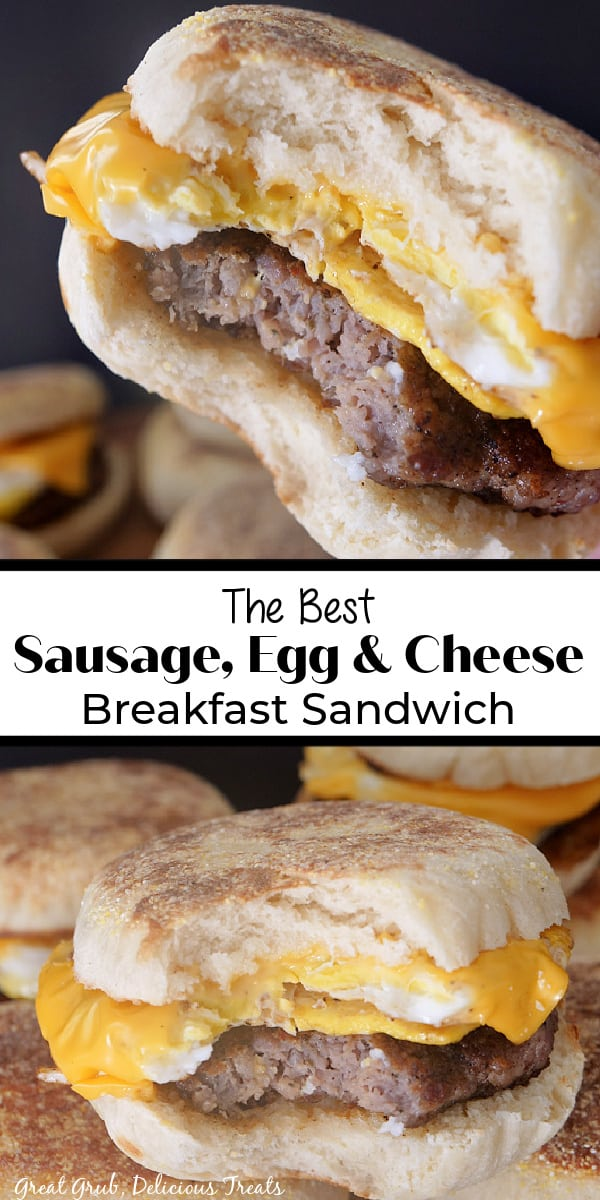 A double photo collage of breakfast sandwiches where you can see the English muffin, sausage patty, egg, and melted sliced cheese.