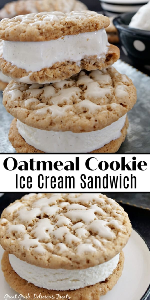A double photo collage of oatmeal cookie ice cream sandwiches with a layer of vanilla ice cream.