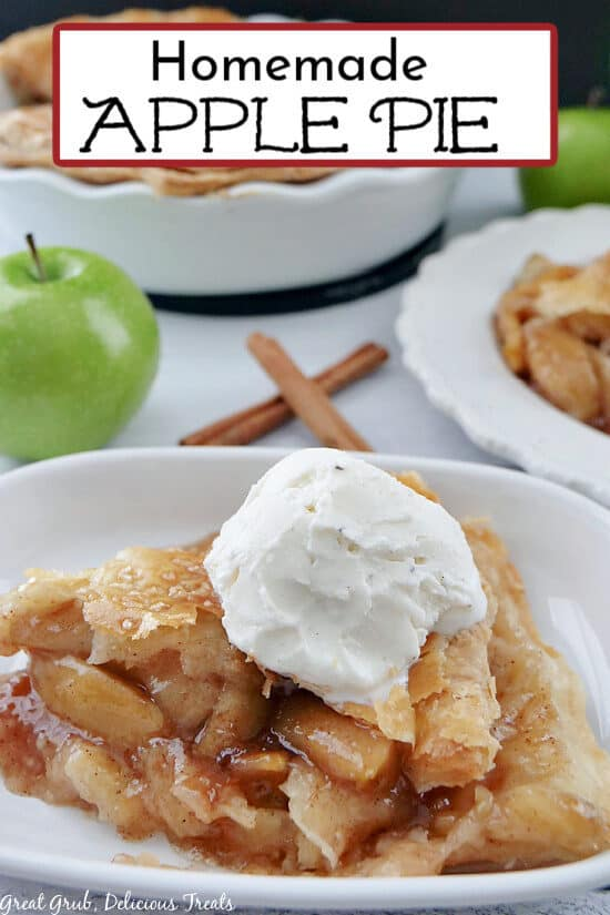 A white bowl with a serving of homemade apple pie.