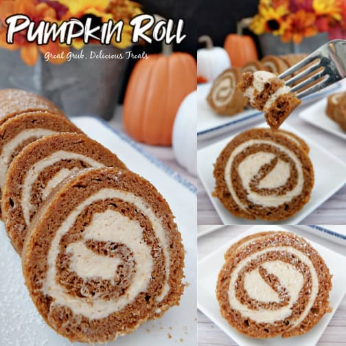 A three collage photo of slices of pumpkin cake roll on white plates.