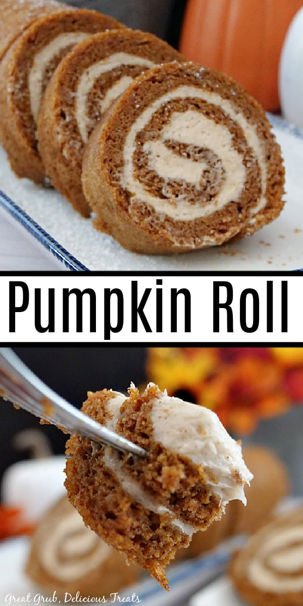 A double collage photo of a pumpkin roll and a close up of a bite of pumpkin roll cake.